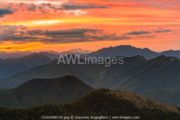 awl-images.com - Italy / Prealps viewed from the top of Monte Bollettone, Como province, Lombardy, Italy