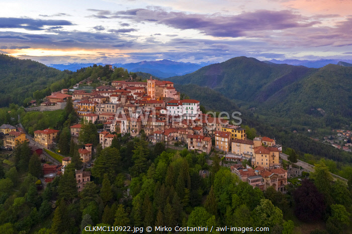 awl-images.com - Italy / View of Santa Maria del Monte and the chapels of the sacred way during a spring sunset. Sacro Monte di Varese, Varese, Lombardy, Italy.