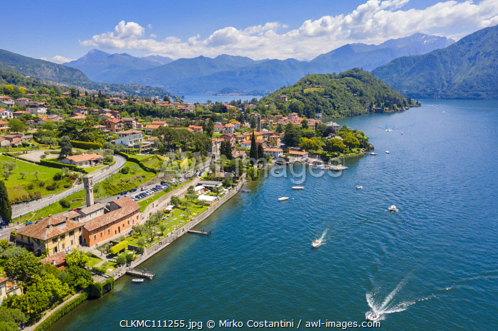 awl-images.com - Italy / Aerial view of lake Como and the town of Ossuccio. Tremezzina, Como Lake, Lombardy, Italy.