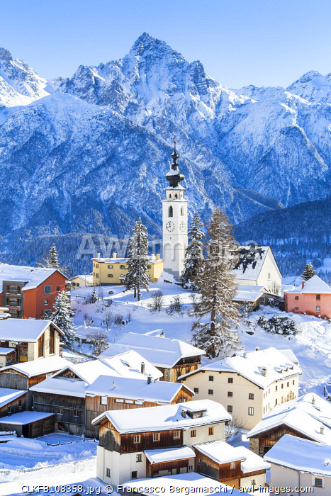 Fresh snow at the village of Ftan, Lower Engadine, Canton of Grisons, Switzerland, Europe.