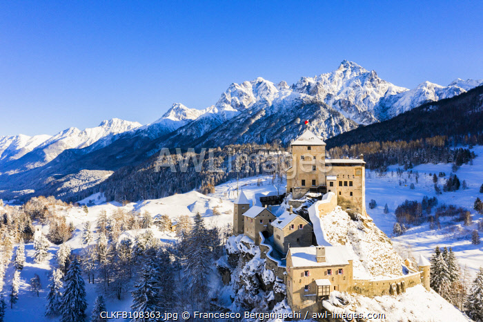 awl-images.com - Switzerland / Aerial view of Tarasp castle after snowfall. Tarasp, Lower Engadine, Canton of Grisons, Switzerland, Europe.