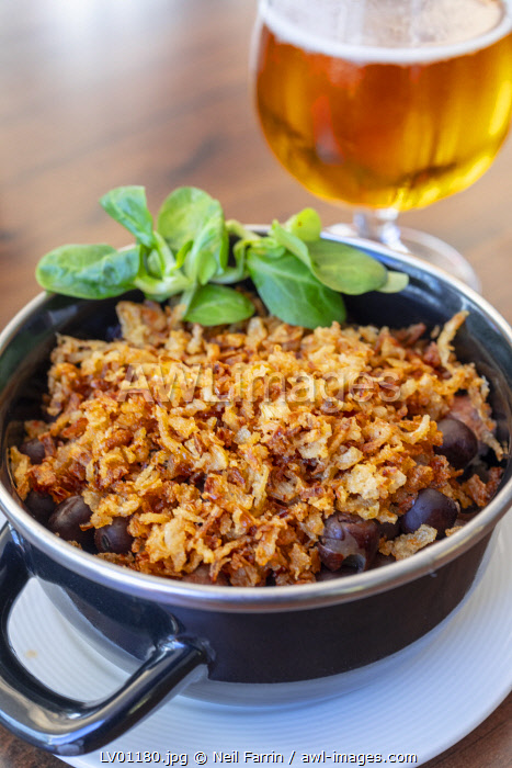 Grey Peas with Smoked Bacon and Fried Onions, Riga, Latvia, Northern Europe,