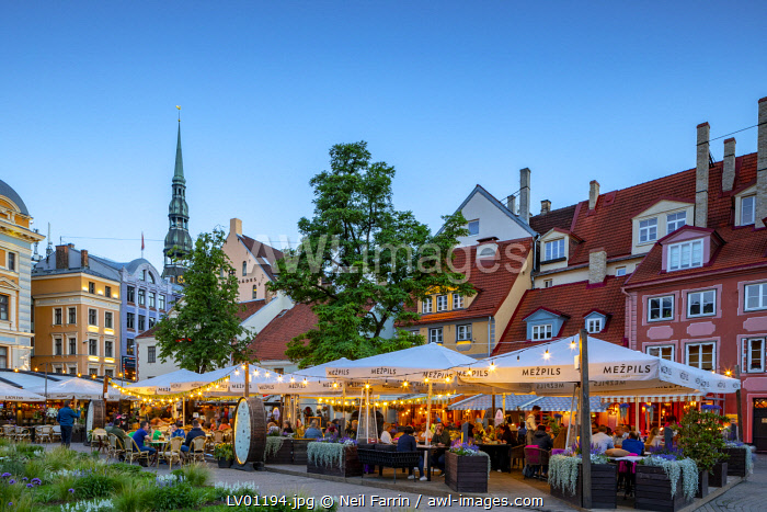 Restaurants in Old Town at Night, Riga, Latvia, Northern Europe,