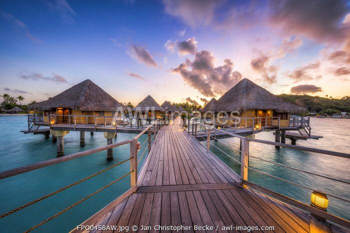 Overwater bungalows at the Bora-Bora Pearl Beach Resort & Spa, Bora Bora, Society Islands, French Polynesia