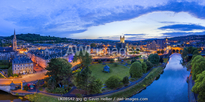 Bath city center and River Avon, Somerset, England