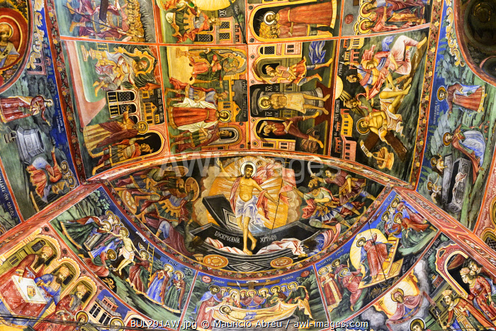 Frescoes of the Troyan Monastery (Monastery of the Dormition of the Most Holy Mother of God). It is the third largest monastery in Bulgaria and is located in the Balkan mountains. It was founded in the 16th century. The exterior murals were painted by Zahari Zograf. Bulgaria