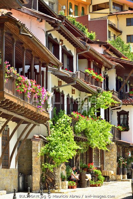 The oldest street in Veliko Tarnovo, General Gurko street, with charming old houses. Veliko Tarnovo, Bulgaria