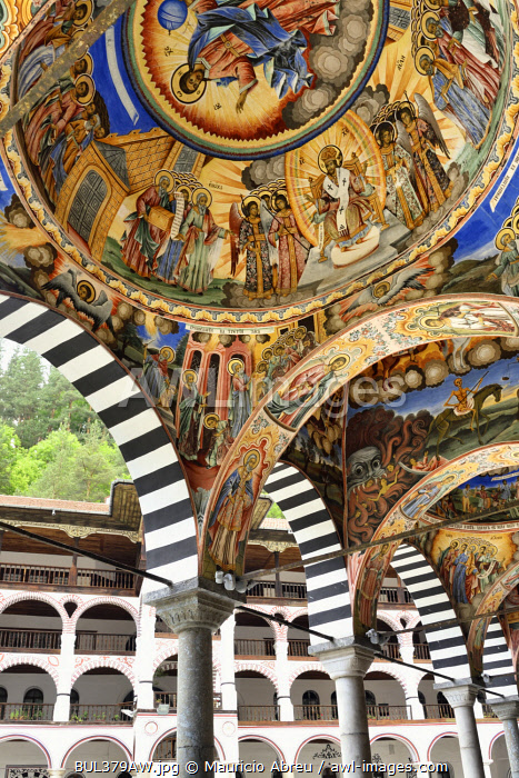 Frescoes by Zahari Zograf in the exterior of the Nativity Church. Rila Monastery (Monastery of Saint Ivan of Rila), the largest Eastern Orthodox monastery in Bulgaria. A UNESCO World Heritage Site. Rila Mountains, Bulgaria