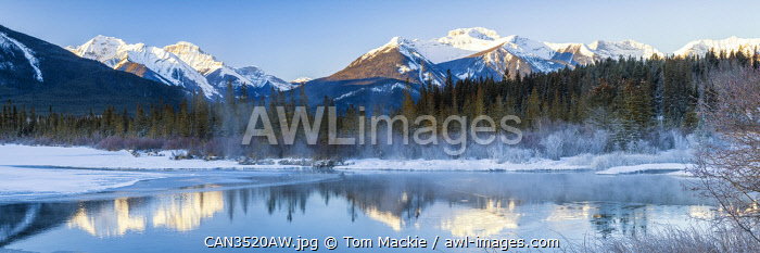 Vermilion Lake Reflections in Winter, Banff, Alberta, Canada