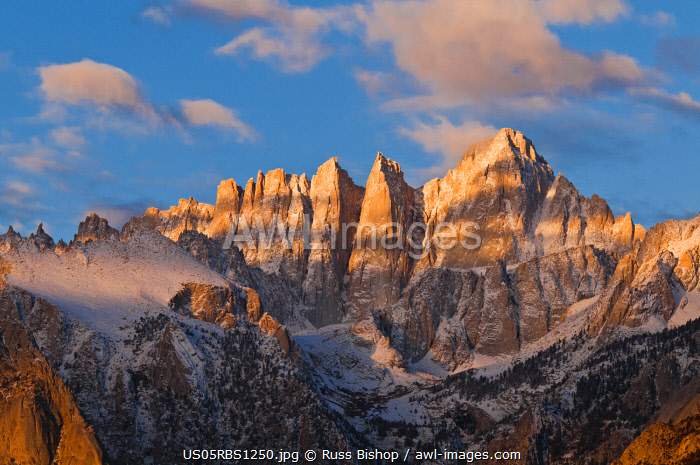 Dawn light on Mount Whitney from the Alabama Hills, Sequoia National Park, California, USA.