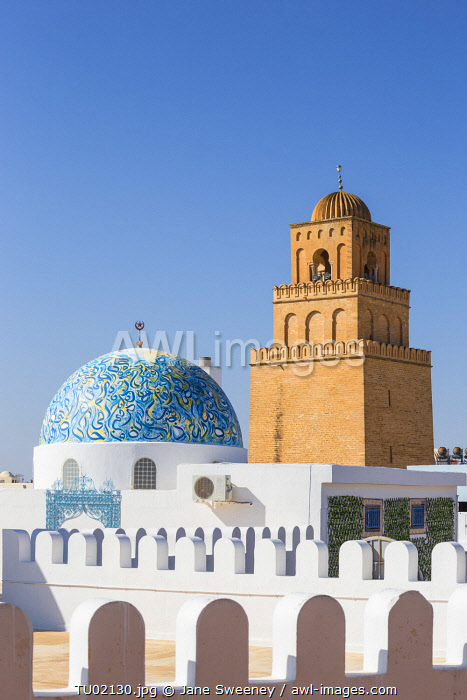 Tunisia, Kairouan, View of dome of cosmetic shop and the Great Mosque