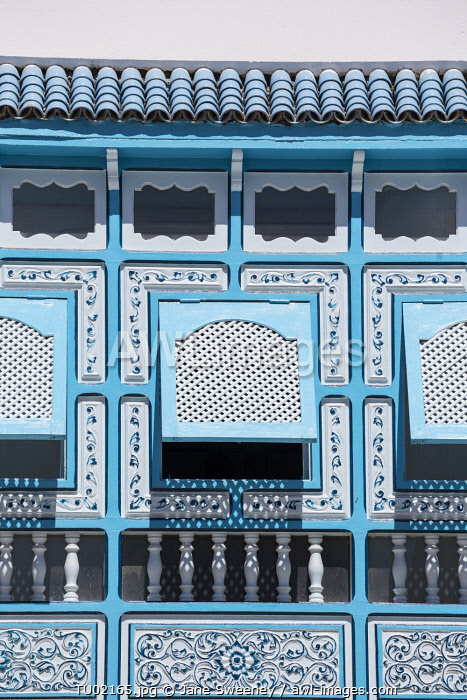 Tunisia, Kairouan, Madina, decorative blue window, decorative