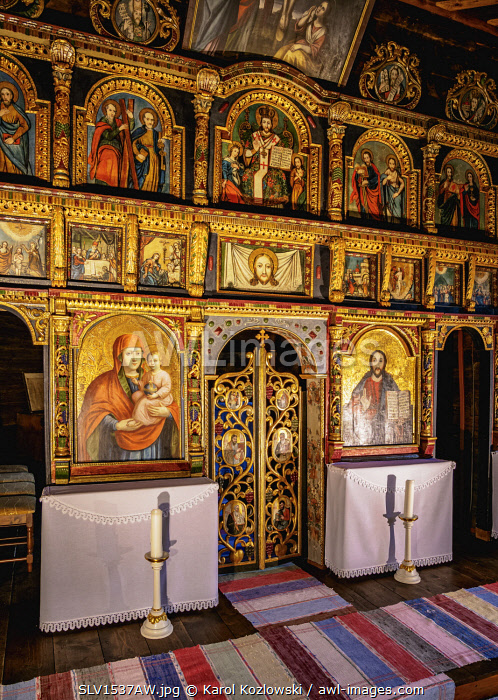 Church interior, Open Air Museum at Stara Lubovna, Presov Region, Slovakia