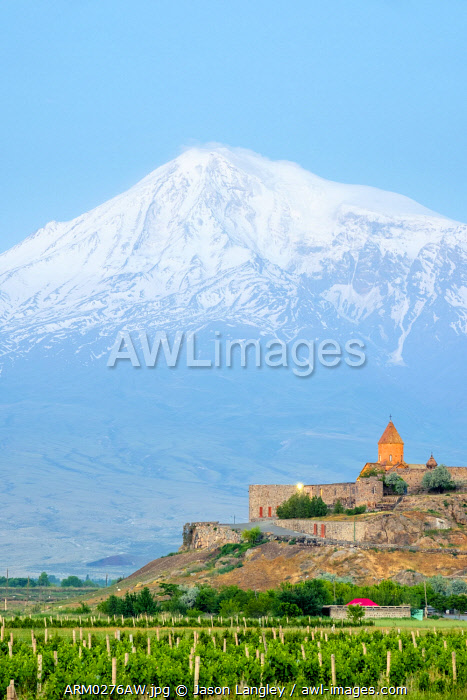 Khor Virap monastery and Mount Ararat at sunrise, near Lusarat, Ararat Province, Armenia.