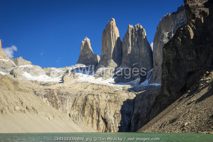 awl-images.com - Chile / Granite mountains seen from Mirador Base Las Torres, Torres del Paine National Park, Magallanes Region, Chile