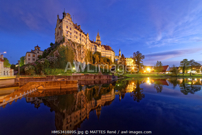 Germany, Baden Wurttemberg, Upper Swabia (Schwäbische Alb), Sigmaringen, Sigmaringen Castle, a Hohenzollern castle, royal residential palace and administrative seat of the Princes of Hohenzollern-Sigmaringen