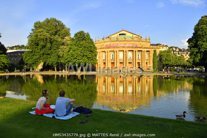 awl-images.com - Germany / Germany, Baden Wurttemberg, Stuttgart, Staats-Theater (National Theater) and Eckensee