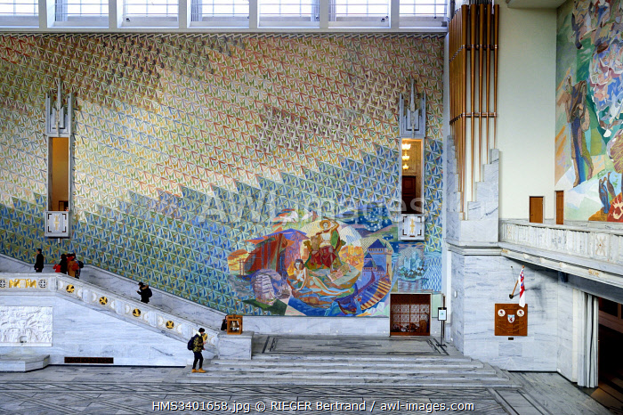 awl-images.com - Norway / Norway, Oslo, City Hall (Radhuset), Main Hall that hosts the Nobel Peace Prize ceremony, frescoes with motifs from Norwegian history, culture and world of work