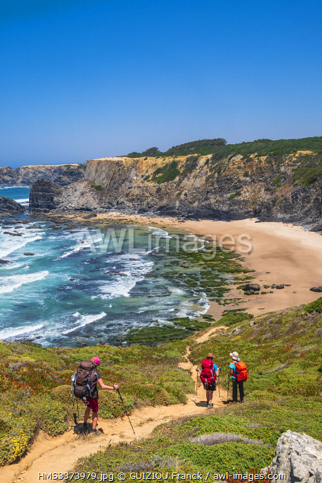 awl-images.com - Portugal / Portugal, Alentejo region, Southwest Alentejano and Costa Vicentina Natural Park, the hike Rota Vicentina between Odeceixe and Zambujeira do Mar on the fishermen trail, Amalia beach