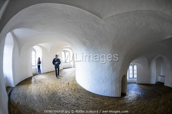 awl-images.com - Denmark / Equestrian staircase, or rider�s staircase, in the Rundetaarn (Round Tower), a 17th-century tower built as an astronomical observatory in Copenhagen, Denmark