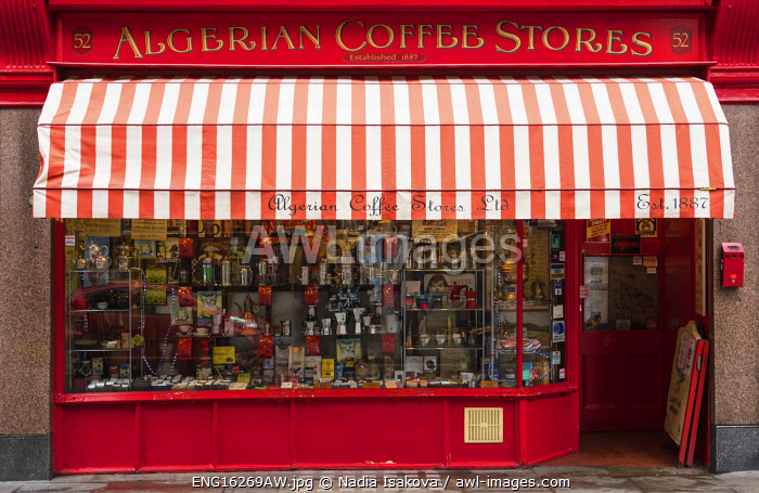 "awl-images.com - England / Algerian Coffee Stores â�"" a century-old shop for global coffees and teas in Soho, London, England"