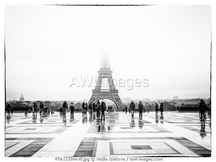 The Eiffel Tower in the morning fog as seen from the observation deck at the Palais de Chaillot, Paris, France