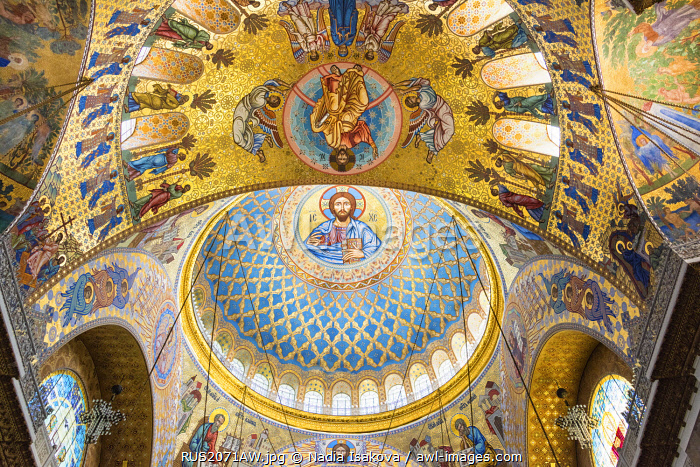 "Ceiling of the Naval Cathedral of Saint Nicholas (Morskoy Nikolskiy Sobor) - Russian Orthodox cathedral built in 1903â�""1913 as the main church of the Russian Navy, and dedicated to all fallen seamen, Kronstadt, Saint Petersburg, Russia"