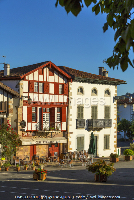 awl-images.com - France / France, Pyrenees Atlantiques, Bask country, Ainhoa, Labeled The Most Beautiful Villages of France, traditional half-timbered house