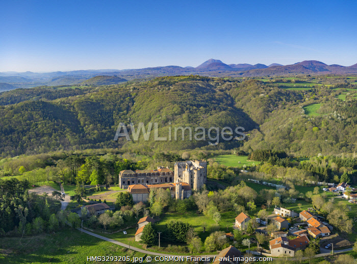 awl-images.com - France / France, Puy de Dome, area listed as World Heritage by UNESCO, Loubeyrat, Chazeron castle (aerial view)