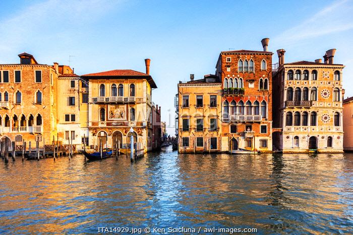 Italy. Veneto. Venice. Palazzo Orio, Palazzo Salviati and Palazzo Barbaro Wolkoff on the Gran Canal.