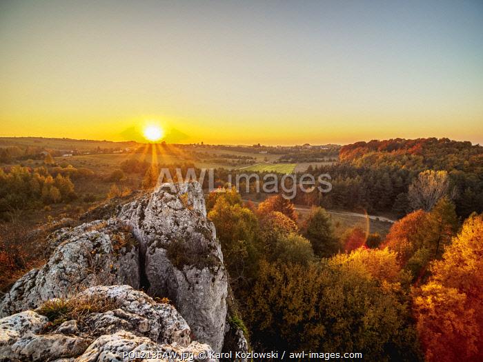 Sunset seen from Okiennik Wielki, window rock, Piaseczno, Krakow-Czestochowa Upland or Polish Jurassic Highland, Silesian Voivodeship, Poland
