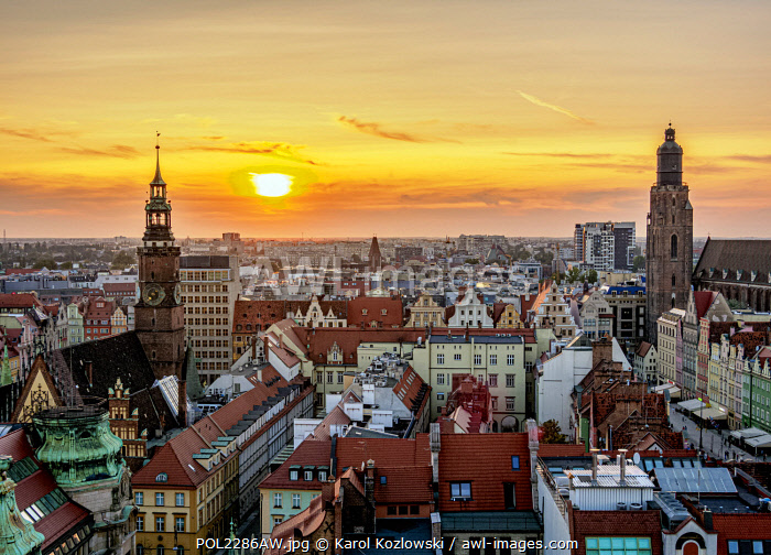 Skyline with Old Town Hall and St. Elizabeth Church at sunset, elevated view, Wroclaw, Lower Silesian Voivodeship, Poland