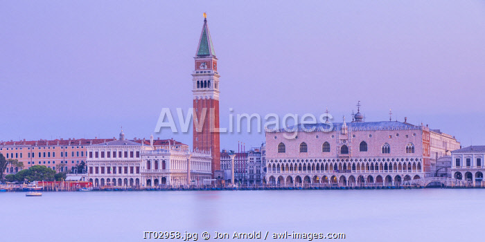 Campanile and the Doge's Palace, Piazza San Marco (St. Mark's Square), Venice, Veneto, Italy
