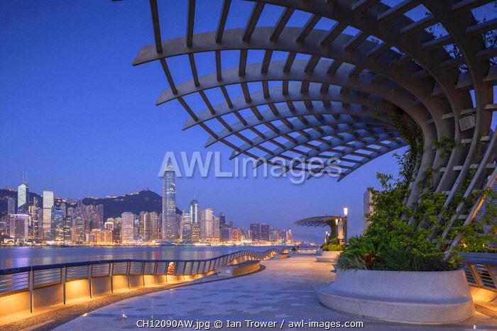 Tsim Sha Tsui promenade at dawn, Tsim Sha Tsui, Kowloon, Hong Kong