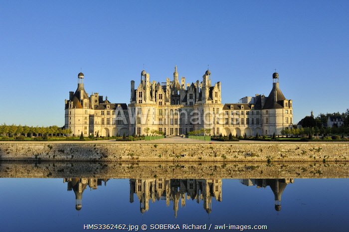France, Loir et Cher, Valley of the Loire listed as World Heritage by UNESCO, Chambord, the Royal Castle and its moat