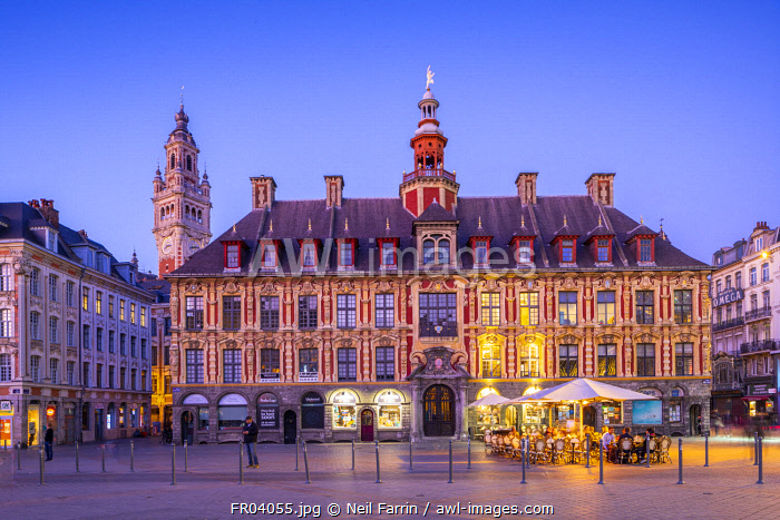 The Grand Place, Lille Chamber of Commerce Belfry, Old Stock Exchange and Restaurants at Dusk, Lille, France,