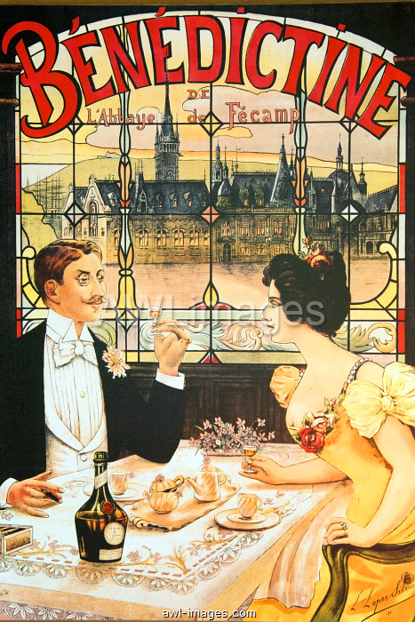 France, Seine Maritime, Pays de Caux, Alabaster Coast, Fecamp, the Gothic Revival and Neo-Renaissance Benedictine Palace, built in the late 19th century, is both the place of production of Benedictine liqueur and Museum, ancient poster