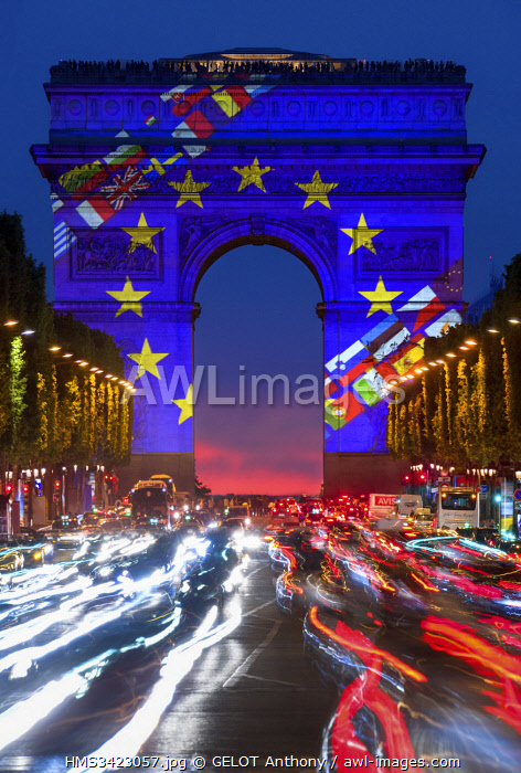 France, Paris, Arc de Triomphe in the colors of Europe and Champs Elysees