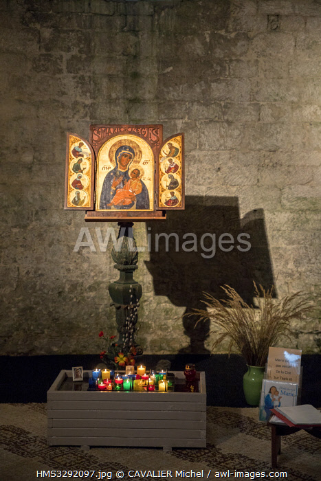 France, Drome, regional natural reserve of Vercors, cistercian abbey of Sainte Marie de Leoncel of the XIth century, triptych icon on gold leaf of Sainte Marie