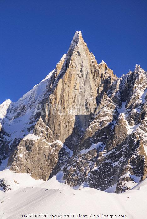 France, Haute Savoie, Mont Blanc valley, Chamonix Mont Blanc, view from Montenvers railway station, The Drus (3754 m)