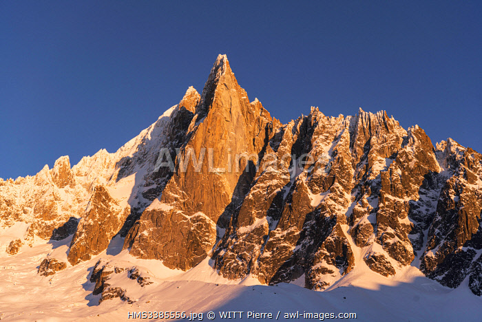 France, Haute Savoie, Mont Blanc valley, Chamonix Mont Blanc, view from the refuge hotel of Montenvers, The Drus (3754 m)