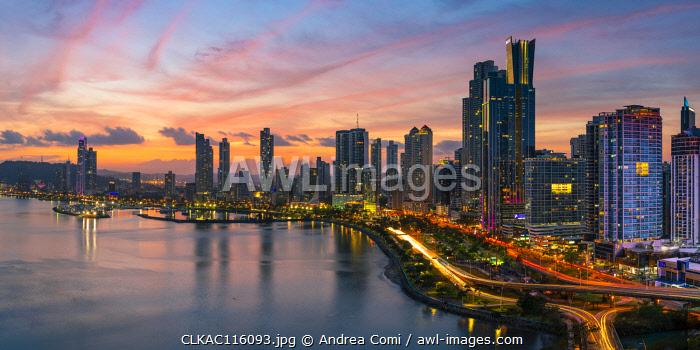 Skyline at dusk. Panama City, Panama, Central America
