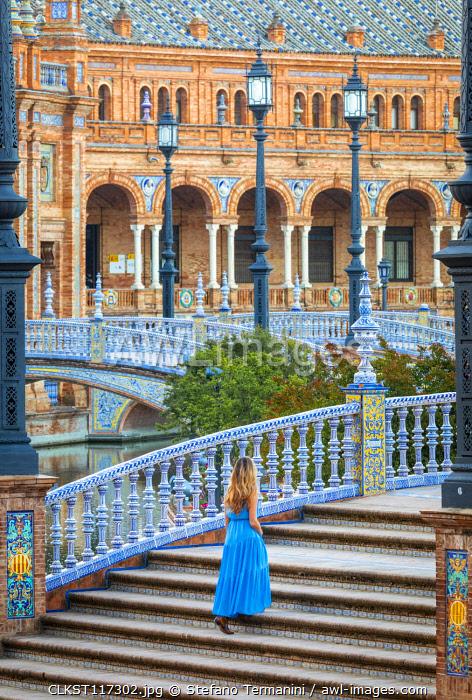 A girl walking in Plaza de Espana, Seville, Andalucia, Spain (MR)