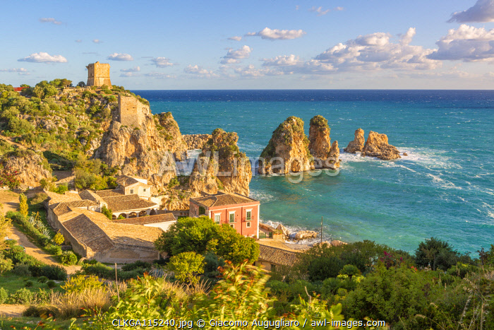 The old Tonnara and the famous stacks of Scopello, Trapani province, Sicily, Italy
