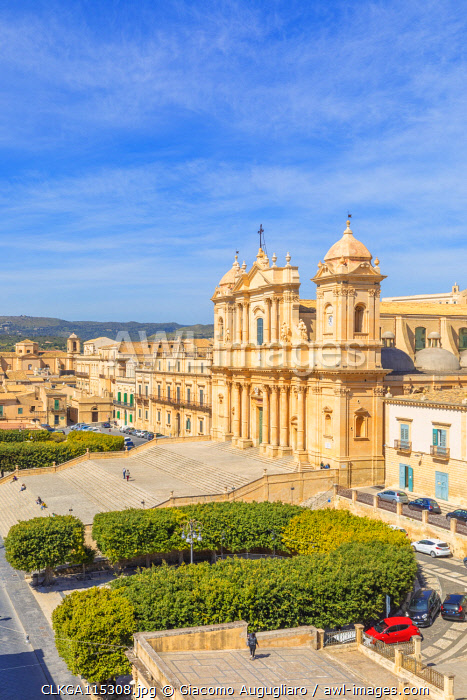 Baroque St nicholas church cathedral of Noto viewed from an elevated terrace, Siracusa province, Sicily, Italy