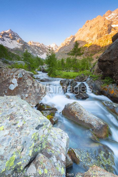 River Ventina, Ventina valley, Valmalenco, Valtellina, Lombardy, Italian alps, Italy