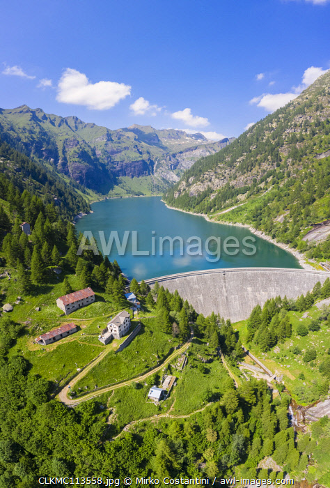 Aerial view of the Agaro Lake and it's dam, an artificial lake covering the old town of Agaro, under Monte Forno, Antigorio Valley, Ossola Valley, Piedmont, Italy, Southern Europe.