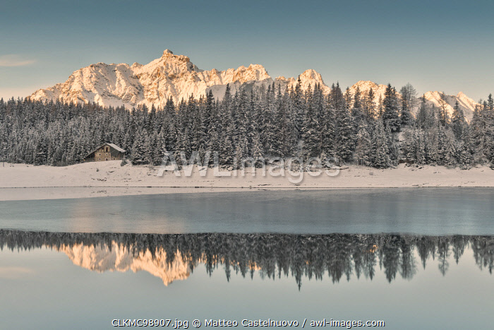 Sunrise on Lake Palù after an early snowfall Malenco Valley Valtellina Lombardy Italy Europe