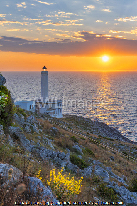 awl-images.com - Italy / Otranto, province of Lecce, Salento, Apulia, Italy. Sunrise at the lighthouse Faro della Palascìa. This lighthouse marks the most easterly point of the Italian mainland.