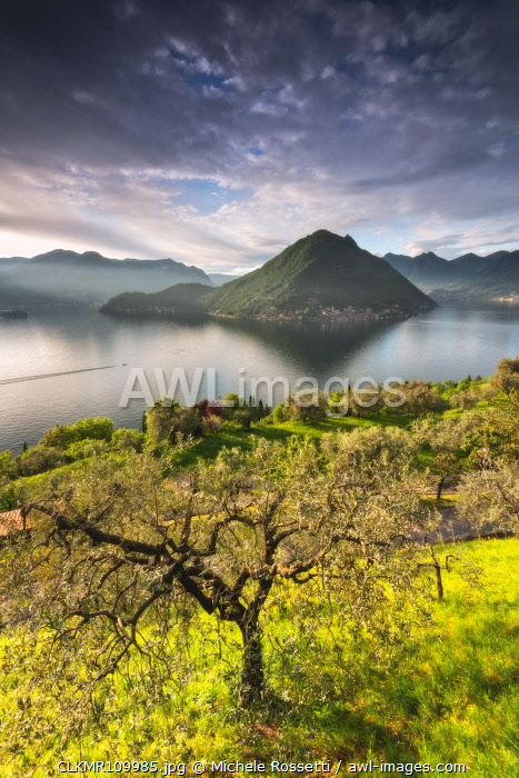 Monte Isola view at sunset from Sulzano, Brescia province, Italy, Lombardy district, Europe